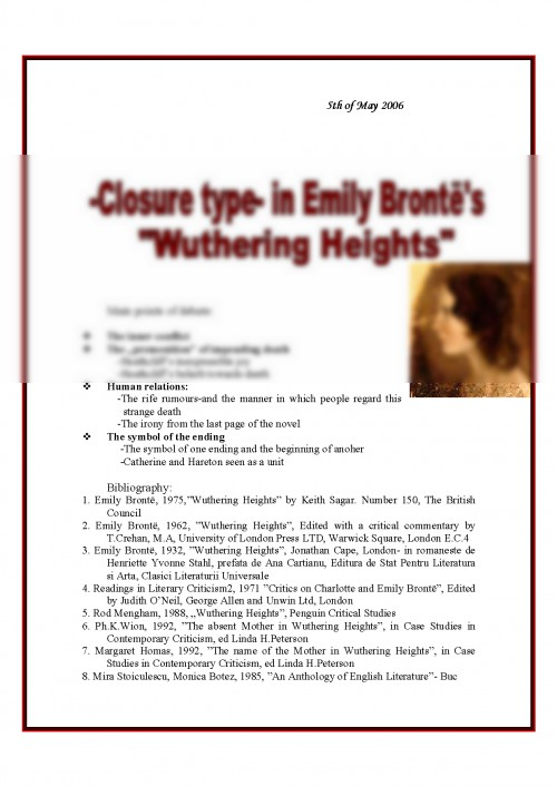 Referat Closure Type In Emily Brontes Wuthering Heights 363287